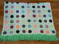 Vintage Crochet Floral Afghan Lap Blanket Throw Retro Granny Square 45.5x68