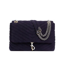 NWT Rebecca Minkoff Edie Suede Leather Shoulder Bag Deep Twilight Blue AUTHENTIC