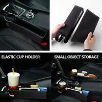 Vehicle Car Seat Gap Storage Box Coin Key Organizer Cup Holder Black PU Leather