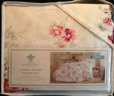 NEW Simply Shabby Chic TWIN Size Duvet Cover / Sham Set Sunbleached Pink Floral