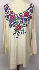 Woman Within Beige Long Sleeve Knit Top Floral Rhinestone Print Plus Size 1X