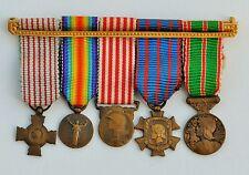 Barrette de 5 réductions 1914-1918, Marne, services civiques