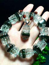Natural Crystal Bracelet Green Phantom Ghost Quartz Pendant Brave Troops SET
