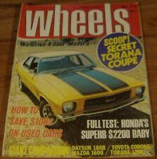 1973.WHEELS.HQ Holden MONARO GTS 4.FALCON SUPERBIRD.Beetle.Honda Civic.FIAT X1/9