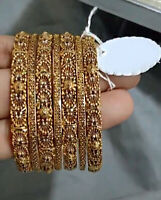 22 Kt Solid Yellow Gold 7 Pcs Slip-On Antique Women'S Bracelet Bangles 125 Grams