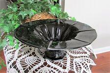 VINTAGE BLACK AMETHYST GLASS STERLING SILVER FLORAL PEDESTAL FRUIT BOWL DISH