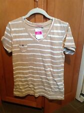 Women's Fresh Produce Tan Striped Heritage Logo Top-New with Tags-S
