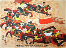 Chinese Folk Art Painting - Original Chinese Peasant Painting -  Riding Horses