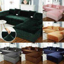 Luxury Plush Velvet L Shape Sofa Slipcover Elastic Sectional Couch Full Cover #