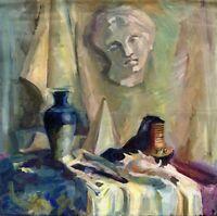 """Russischer Realist Expressionist Öl Leinwand """"Stillleben mit Pyramide"""" 60x60cm"""