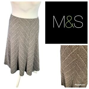 Ladies Brown Mix Skirt Size 20 M&S MARKS & SPENCERS A Line Smart Work 🌹