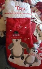 Pottery Barn Kids quilted Penguins Penguin Christmas mono Taya stocking New