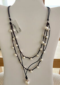 Adornia Multi-strand Leather Cord knotted Pearl Necklace, NWT