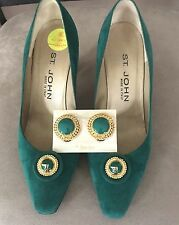 St John Emerald Green Suede Pumps Heels & FREE Matching Earrings Made In Italy