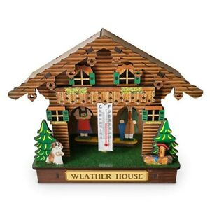 Weather House, Forest Weather House with Man and Woman, Wood Chalet BarometeP2J2