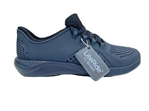Crocs solid black Literide Pacer lace up shoes mens size US 7 EUR 39-40