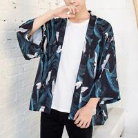 Men 3/4 Sleeve Crane Print Loose Kimono Cardigan Jacket Top Shirt Japanese Black
