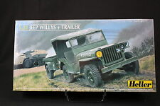 YS061 HELLER 1/35 maquette voiture 81105 Jeep Willys + trailer