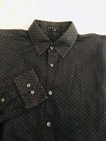 Theory Mens Dress Shirt Cotton L Small Print Black