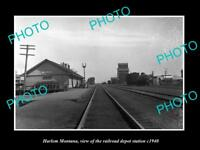 OLD LARGE HISTORIC PHOTO OF HARLEM MONTANA, THE RAILROAD DEPOT STATION c1940