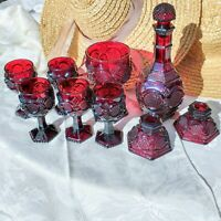 9 pc Vintage Avon Cape Cod Ruby Red Decanter Wine Cordial Goblets Candleholders