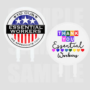 """Essential Workers Thank You Cake Topper 6"""" Width x 3"""" Stakes,Two-Sided Image"""