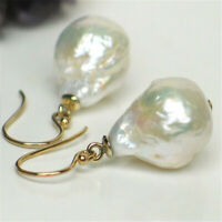 14-16mm White Baroque Pearl Earrings 18K Hook delicate personality classic