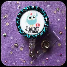 NURSE OWL PERSONALIZED Name Bottle Cap ID Badge Holder Lanyard Work Clip Reel