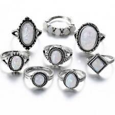 8 Pcs/Set Opal Stone Knuckle Shield Rings Set Women Boho Antique Silver Rings