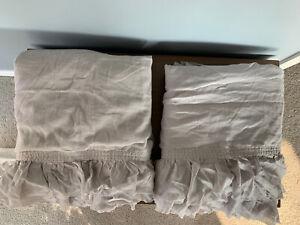 Set of 2 RH Teen Tattered Ruffle Drapery Panels Gray Girl 50x108