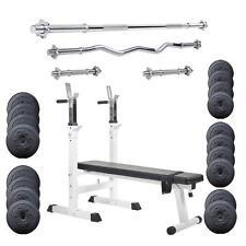 Hantelbank klappbar mit Langhantel 96 kg Gewicht Hantelscheiben-Set Hantel-Set