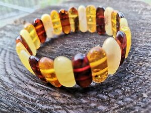 Elastic Stretch Baltic Amber Bracelet Handmade Natural 14 gr. Ellipse oval 17 mm