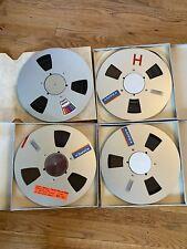 "(4) Ampex 406 Metal Reel To Reel with Audio Tape 1/4"" 10.5"" NAB Center"