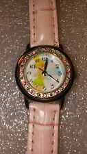TINKERBELL Watch Pink Band With Crystals, Working! NEW BATTERY