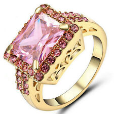 Size 9 Women's Pink Sapphire Crystal Wedding Ring Gold Rhodium Plated Band