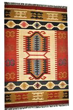 Home Decor Jute Wool Kilim Area Floor Moroccan Rug Hand Knotted Geometric 4'X6'