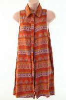 GLAMOROUS @ ASOS orange boho paisley print smock dress size S 10 euro 38