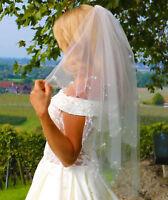 Schleier Brautschleier 2 Lagen mit Kamm Perlen Strass 2-lagig Hochzeit Braut NEU