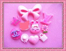 9pcs Mix pink bow kitty DIY kawaii cell Phone flatback cabochon resin deco kit