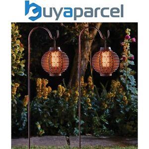 2 x Smart Garden Solar Forli Flaming Lantern LED Light Silhouette Shepherds Hook