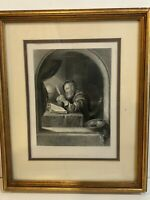 "Frans van Mieris, A.R.A ""The Writing Master"" Etching Print, Framed, 7"" x 9 3/4"""