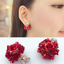 Women Girls Jewelry Elegant Red Rose Flower Crystal Rhinestone Stud Earrings New