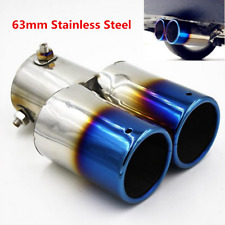 63mm Stainless Steel Car Roasted Blue Exhaust Tail Muffler Tip Pipe Accessories