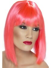Neon Pink Glam Wig Short, Blunt with Fringe Womens Smiffys Fancy Dress Costume