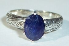 Royal Blue Kyanite in USA Made Sterling Deco Ring sz 6.5