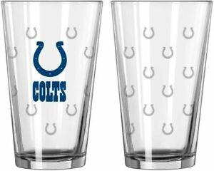 Indianapolis Colts 16 oz Satin Etch Logo Pint Glass Set (2 Glasses)
