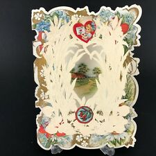 Vtg Antique Valentines Card 30s 40s Farmhouse Paper Lace Embossed Iris Cattail