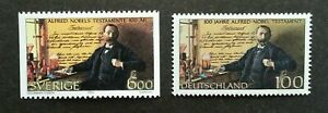 [SJ] Sweden - Germany Joint Issue 100 Years Of Alfred Nobel 1995 (stamp pair MNH