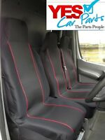 FORD TRANSIT CUSTOM 2016 ONWARDS DELUXE RED PIPING VAN SEAT COVERS 2+1