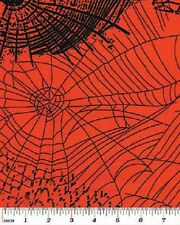 SPOOKTACULAR ORANGE SPIDERWEBS WEBS HALLOWEEN FABRIC
